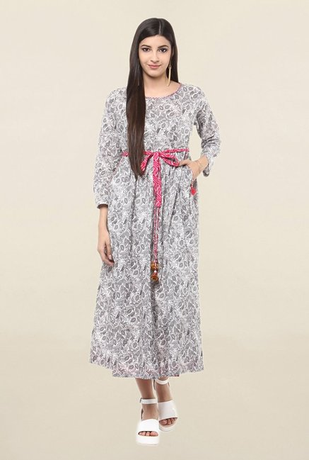 Suthidori Grey Printed Tunic With Belt