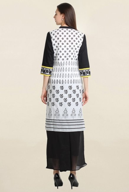 Suthidori White & Black Printed Straight Kurta