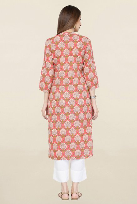 Varanga Peach & White Printed Kurta With Pants