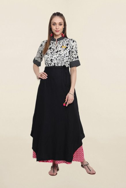 Suthidori Black Printed Tunic With Belt