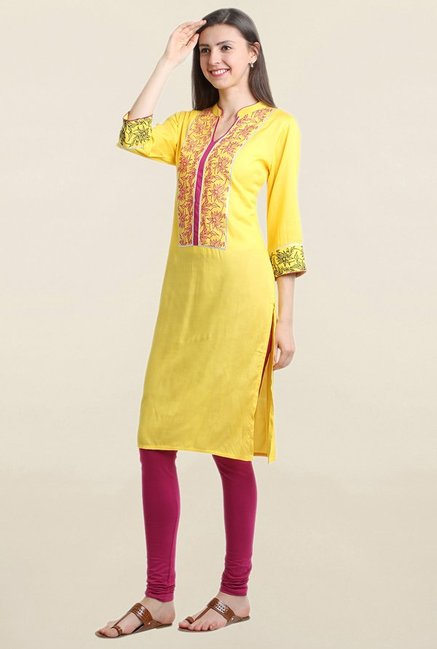 Suthidori Yellow Printed Straight Kurta