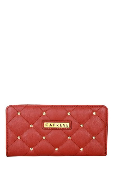 Caprese Sangria Crimson Red Riveted Quilted Wallet