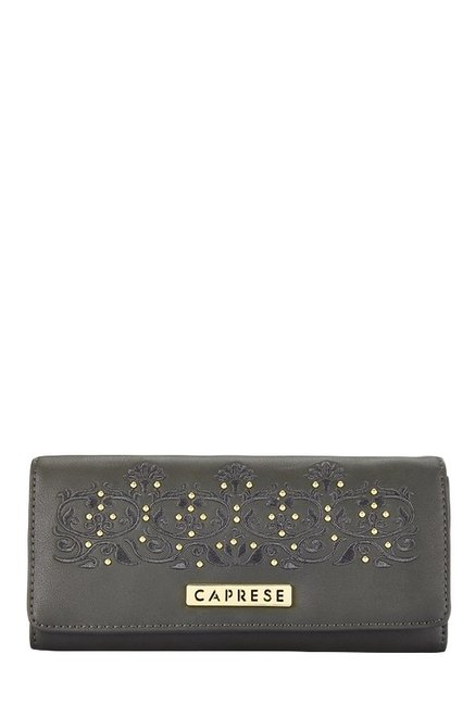 Caprese Virginia Dark Grey Embroidered Flap Wallet