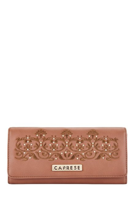 Caprese Virginia Brown Embroidered Flap Wallet