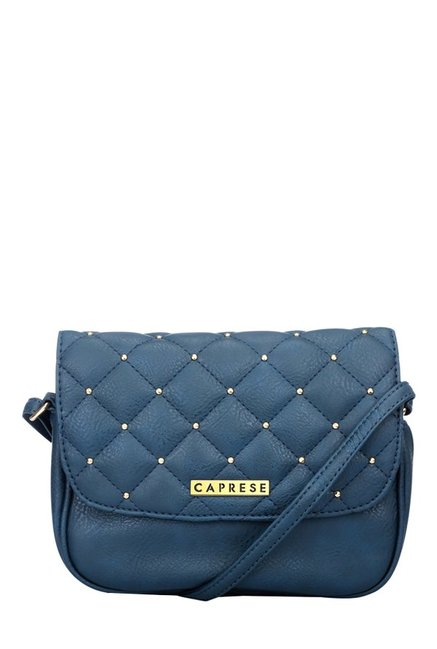 f2e12c799 Buy Caprese Sangria Navy Riveted Quilted Sling Bag For Women At Best Price    Tata CLiQ