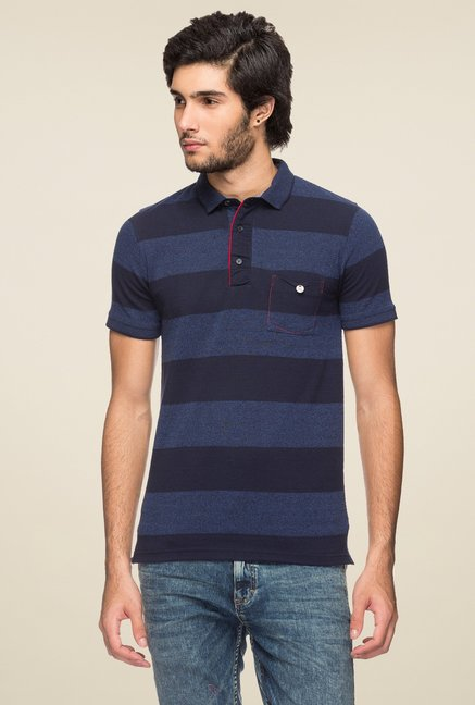 461f0a2a8ee Buy Yoo Navy Striped Polo T-Shirt for Men Online @ Tata CLiQ