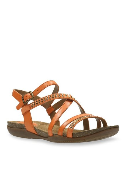 5ce64bb86ef171 Buy Clarks Autumn Peace Orange Ankle Strap Sandals for Women at Best Price    Tata CLiQ