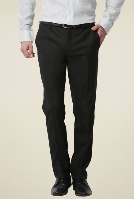 adf45d7aa8 Buy Van Heusen Black Flat Front Trousers for Men Online   Tata CLiQ