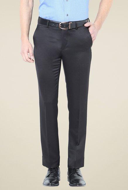 2edb5e43c6 Buy Van Heusen Black Flat Front Mid Rise Trousers for Men Online   Tata CLiQ