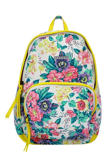 Caprese Florentine Yellow & Green Printed Canvas Backpack