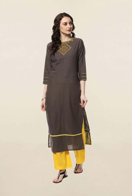 Jaipur Kurti Grey & Yellow Solid Kurta With Palazzo Set