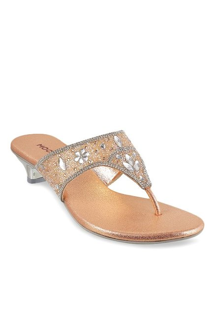 0aafc2a1ad2a Buy Mochi Rose Gold   Silver Thong Sandals for Women at Best Price   Tata  CLiQ