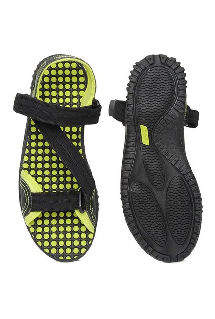 Reebok Black & Green Floater Sandals