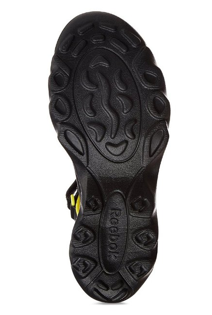 Reebok Black & Yellow Floater Sandals
