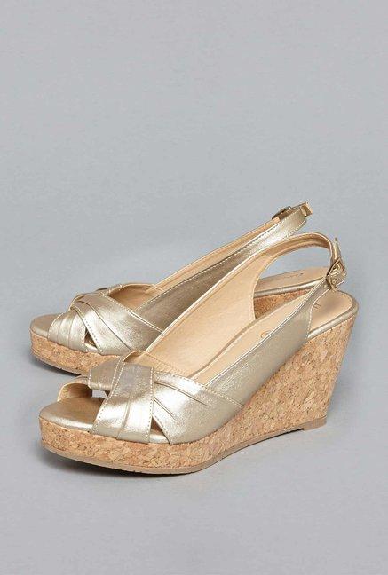 9c08f57bf9 Buy LUNA BLU by Westside Dull Gold Wedge-heel Sandals For Women Online At  Tata CLiQ