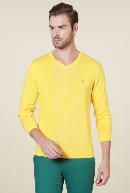 ccc5c8f15 Buy Allen Solly Yellow Regular Fit Full Sleeves Sweater for Men ...