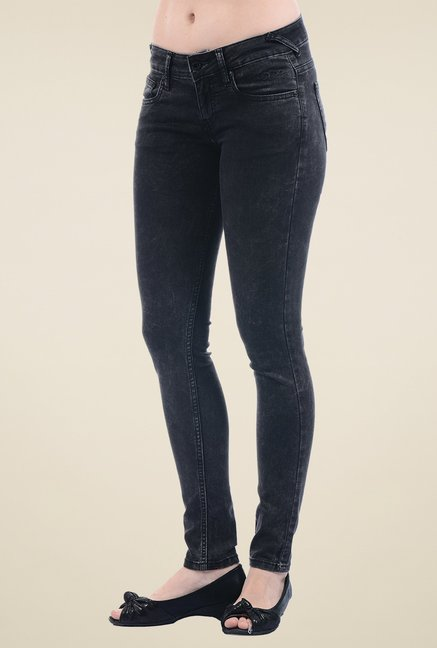 Pepe Jeans Black Lightly Washed Low Rise Jeans