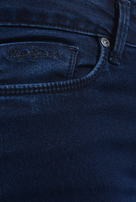Pepe Jeans Dark Blue Cotton Slim Fit Jeans