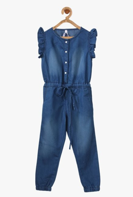 164f30e739 Buy StyleStone Blue Solid Jumpsuit for Girls Clothing Online   Tata ...