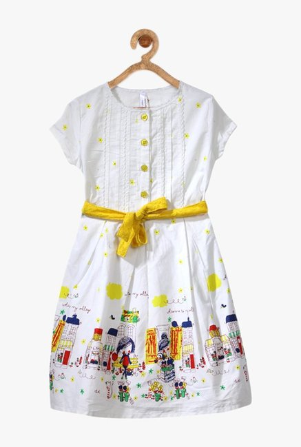 dd6854a201 Buy StyleStone White & White Printed Dress for Girls Clothing Online ...