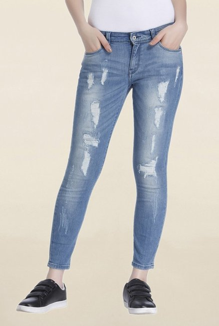 Only Blue Tattered Slim Fit Low Rise Jeans