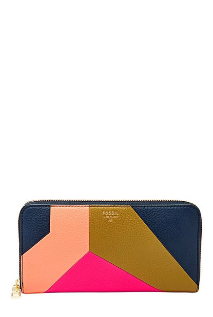Fossil Navy & Pink Color Block Leather Wallet