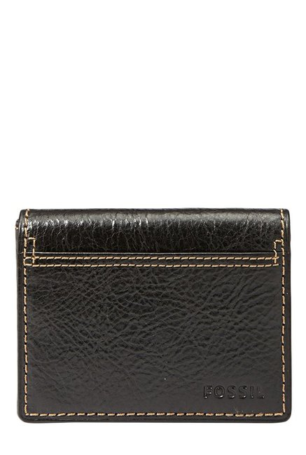 Fossil Black Stitched Leather Bi-Fold Wallet