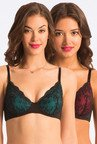 Pretty Secrets Red & Blue Lace Under-Wired Bra (Pack Of 2)