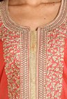 Soch Peach & Gold Embroidered Dress Material