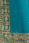 Soch Turquoise Embroidered Georgette Saree