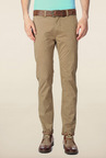 Peter England Khaki Solid Chinos