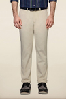 Peter England Cream Solid Cotton Casual Trouser