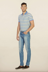 Peter England Light Blue Solid Slim Fit Jeans