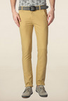 Peter England Khaki Solid Cotton Chinos
