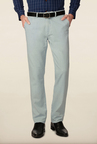 Peter England Sky Blue Solid Casual Chinos