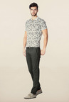 Peter England Grey Solid Chinos