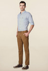 Peter England Khaki Solid Cotton Casual Chinos