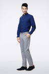 Peter England Light Grey Solid Casual Trouser