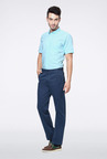 Peter England Blue Slim Fit Casual Trouser