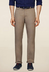 Peter England Beige Solid Casual Trouser