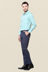 Peter England Blue Solid Trouser