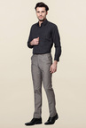 Peter England Grey Mid Rise Slim Fit Trouser