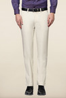 Peter England Beige Solid Cotton Trouser