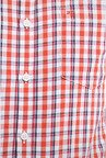 Peter England Orange & Navy Checks Slim fit Casual Shirt