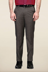 Peter England Grey Solid Trouser