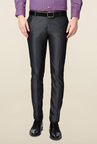 Peter England Grey Solid Skinny Fit Trouser