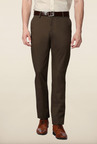 Peter England Brown Solid Slim Fit Trouser