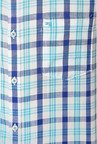 Peter England Blue & White Checks Casual Shirt