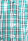 Peter England Green Checks Slim fit Casual Shirt