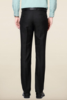 Peter England Black Mid Rise Solid Trouser